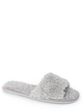 afdce296214 Grey Open Toe Scruffy Fur Effect Slippers