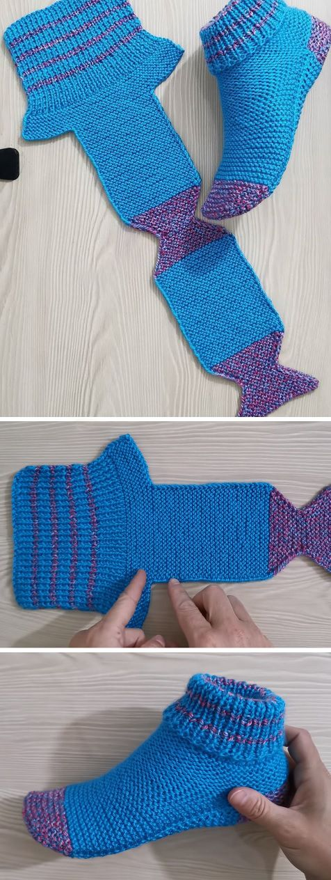 Folded Slippers Tutorial (Crochet/Knit #knit