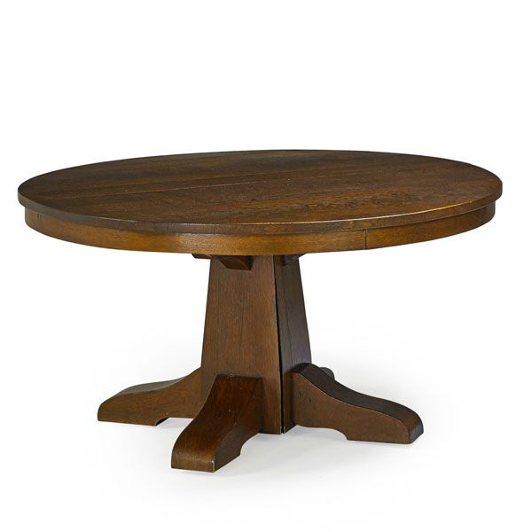 Craftsman Style Dining Room Furniture: GUSTAV STICKLEY Pedestal Dining Table, Eastwood, NY, Ca