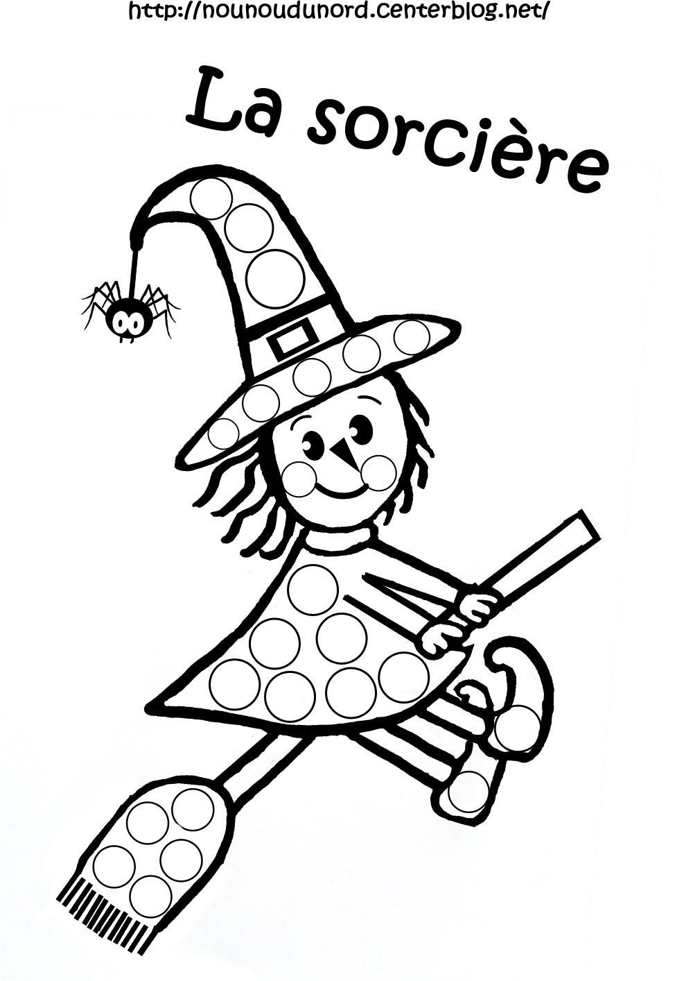 coloriage halloween a gommettes Coloriage halloween