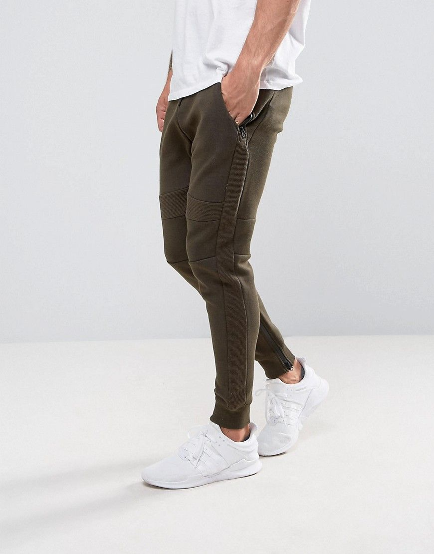 Pull Bear Panel Joggers With Zip Hem In Khaki - Green 74a154e0b