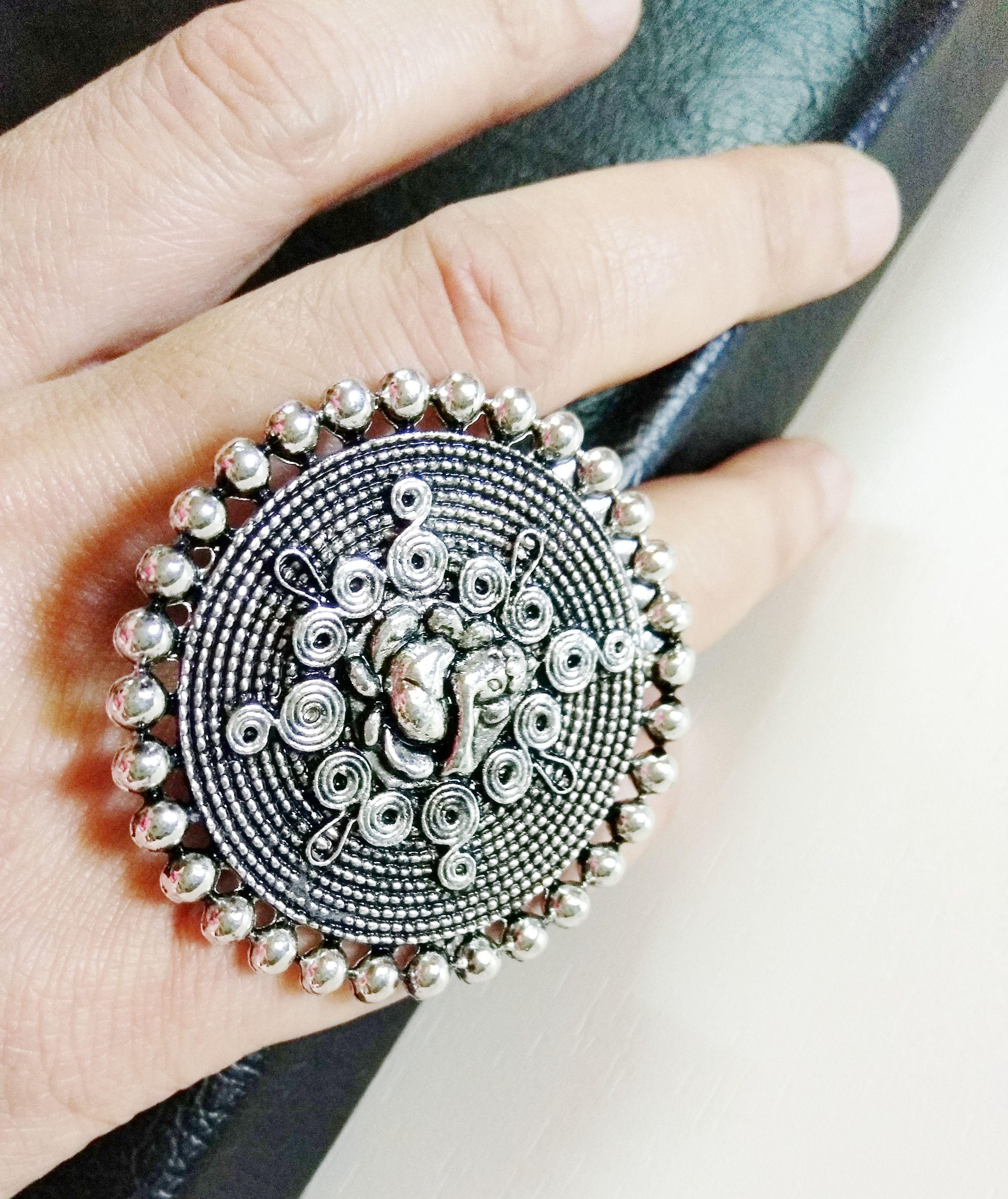 Fashion Women Bohemian Silver Open Adjustable Ring Big Finger Rings Jewelry