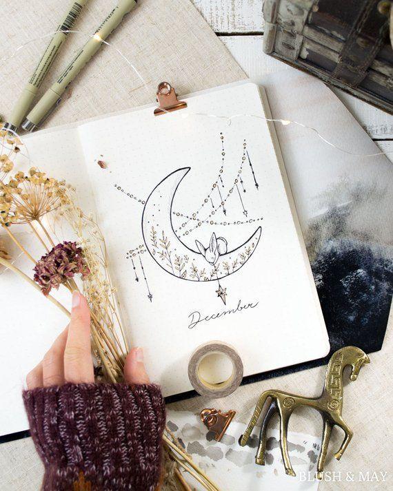 Complet d'installation vierge | Imprimables pour Journal ou planificateur | Lune et étoiles - -