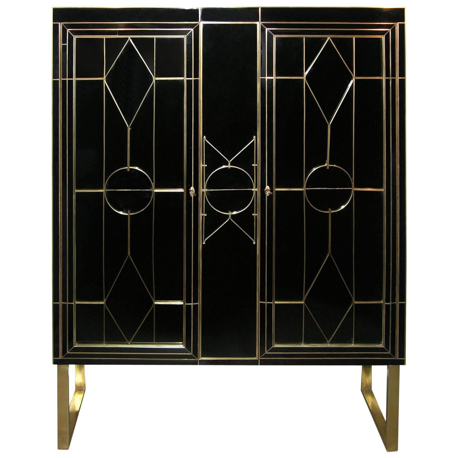 italian art deco style black glass cabinet bar with bronze highlights bronze highlights. Black Bedroom Furniture Sets. Home Design Ideas
