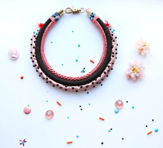 40% off with code SALE40! Statement rope necklace, chunky necklace,  puffy pink black rope collar necklace black  dots handmade