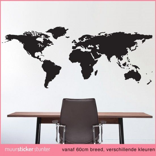 wereldkaart-muursticker-slaapkamer-woonkamer-kinderkamer-kantoor ...