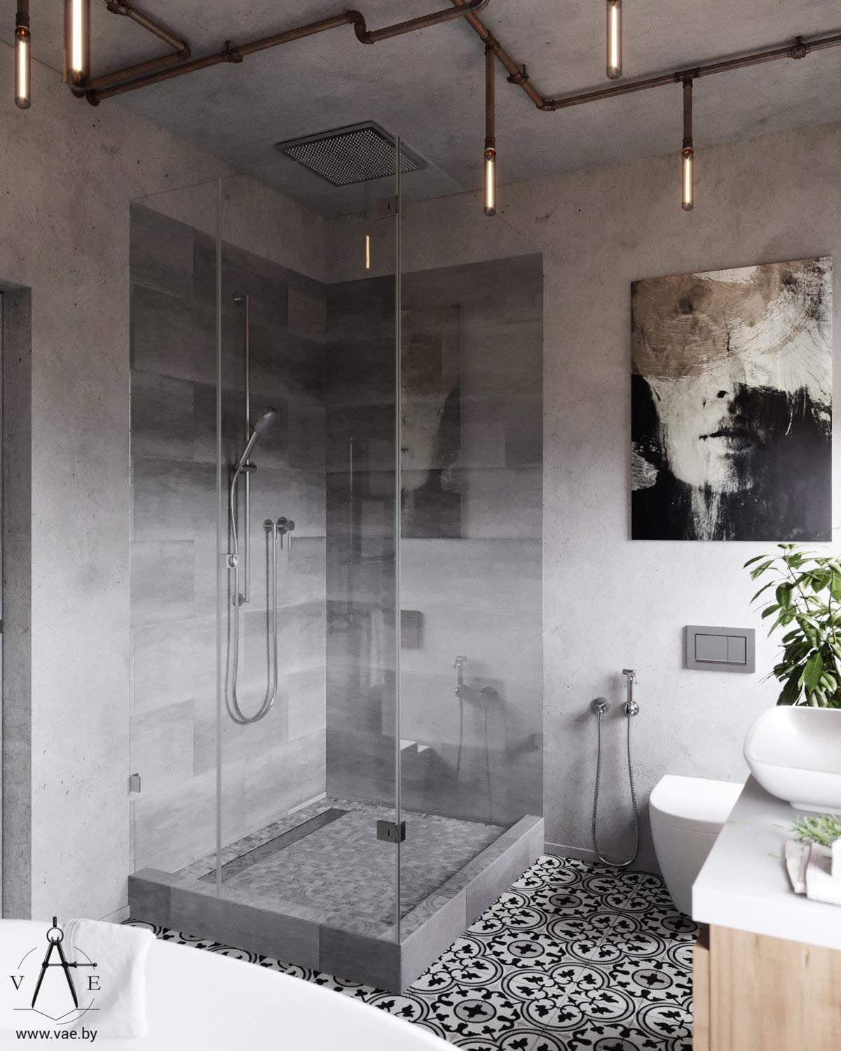 Warm Industrial Style House With Layout Bathrooms