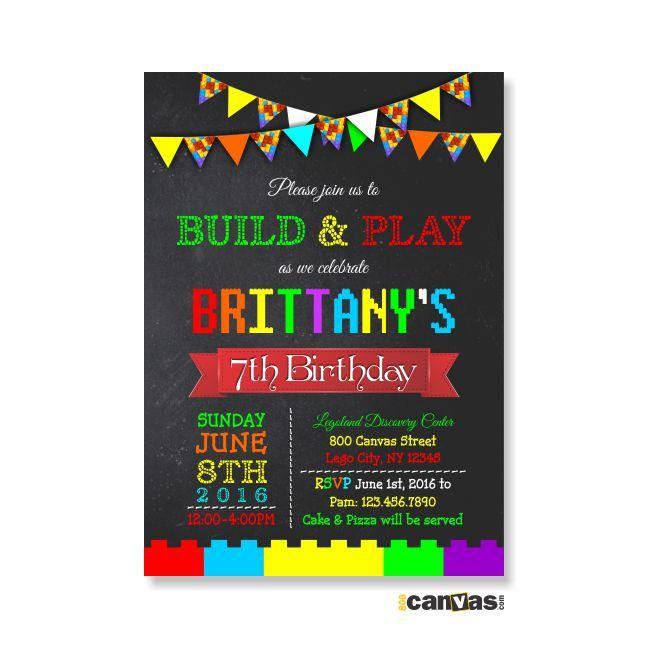 Lego Birthday Invitation Party Chalkboard Banner Boy Or Girls Building Blocks 364 By 800Canvas On Etsy
