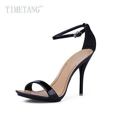 Zapatos de mujer - Tacón Stiletto - Tacones   Plataforma   Punta Abierta    Tira en el Tobillo - Sandalias - Vestido - Semicuero -Negro   2641874 2016  – € ... b4a97ef38eda