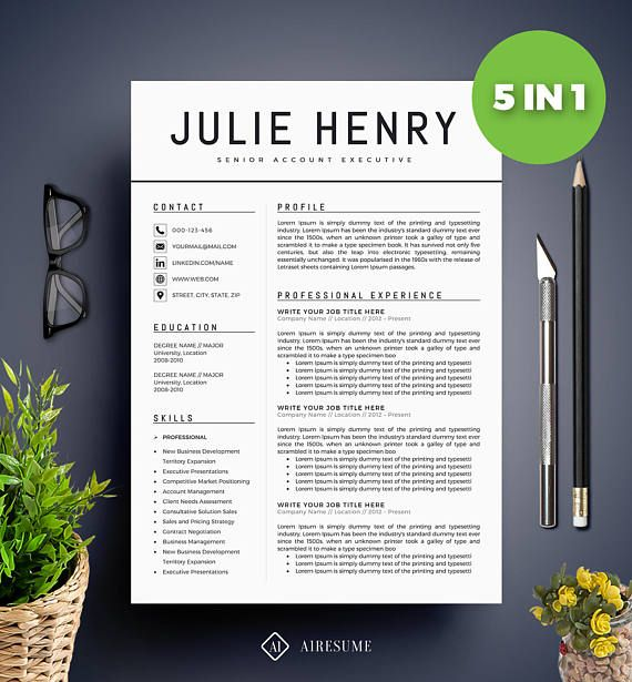 Modern Resume Template / CV Template + Cover Letter Professional - example of dental hygientist resume
