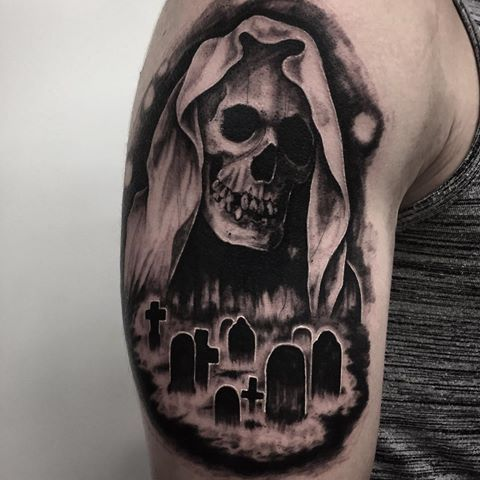 Krisbradburytattoo Movie Tattoos Sleeve Tattoos Evil Skull Tattoo