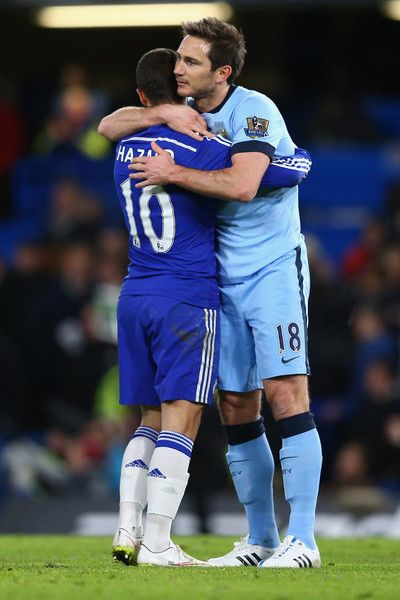 Eden Hazard Photos - Eden Hazard of Chelsea hugs Frank Lampard of Manchester City after  the Barclays Premier League match between Chelsea and Manchester City at Stamford Bridge on January 31, 2015 in London, England. - Chelsea v Manchester City - Premier League