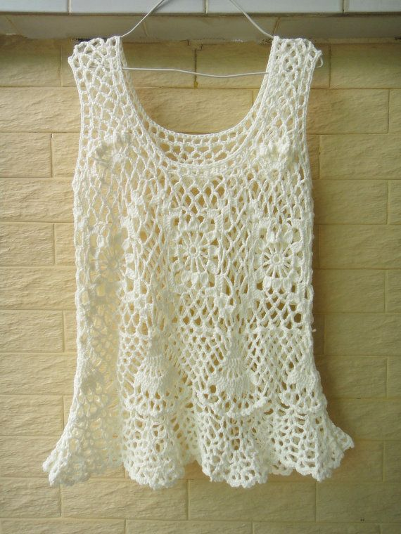 Boho Crochet Vest Woman Crochet Ruffle Top by Tinacrochetstudio ...