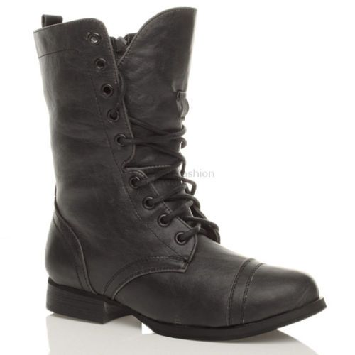 WOMENS LADIES MILITARY LACE UP ARMY COMBAT ANKLE BOOTS SIZE   eBay