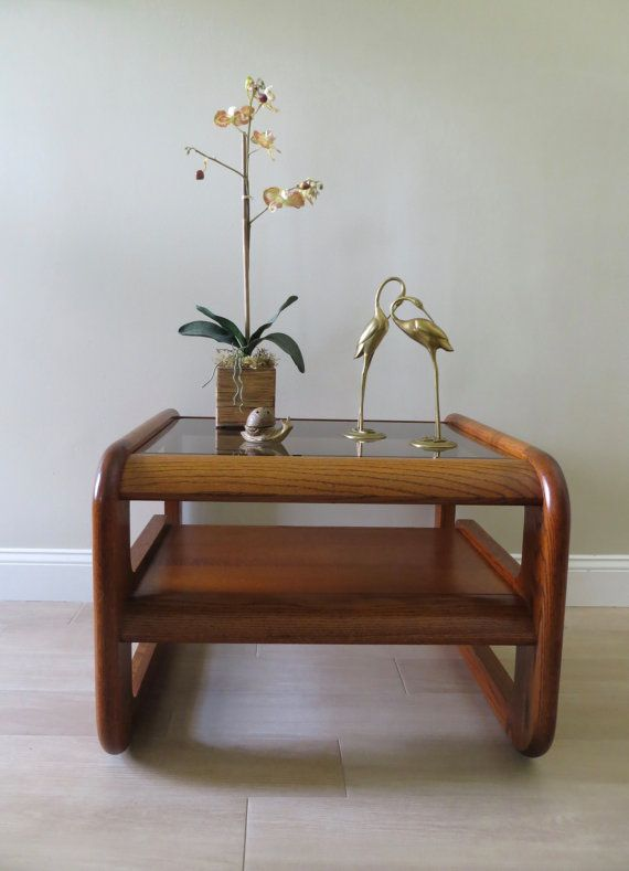 On Sale Vintage Oak End Table Two Tiered Side Table Glass Top Oak End Tables Glass Side Tables Glass Table