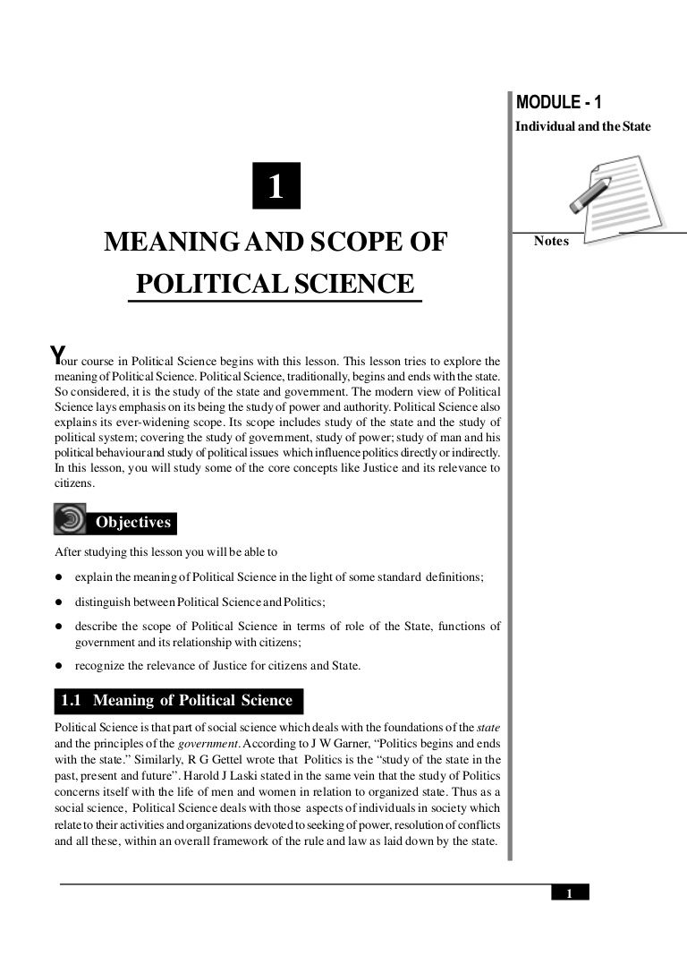 Meaning And Scope Of Political Science 1 Political Science Politics Science Notes