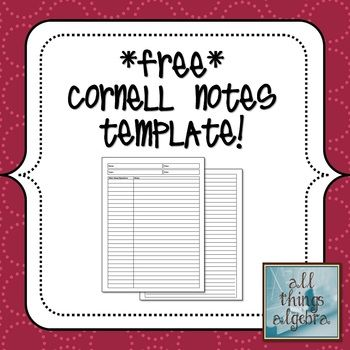 FREE Cornell Notes Template | Note taking | Pinterest | Cornell ...