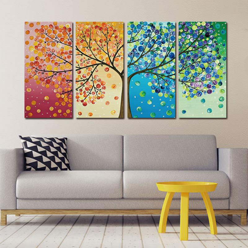 Colorful Trees Canvas Painting Set For Just 21 68 New Customers Visit Like Us Today For Immediate Store Credit Free Shipping Deco Home Decor Paintings