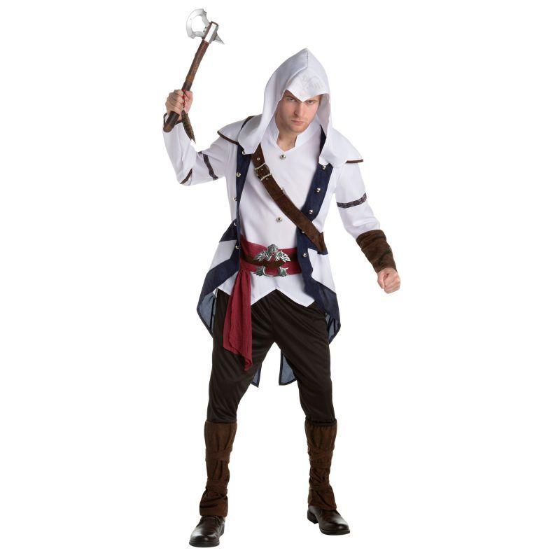 Ce costume du personnage de Connor sous licence officiel du jeu vidéo Assassin's Creed™ est composé d'une tunique, d'un pantalon et d'une capuche. Disponible en taille unique. La tunique représente une veste avec un haut directement cousu à l'intérieur ai