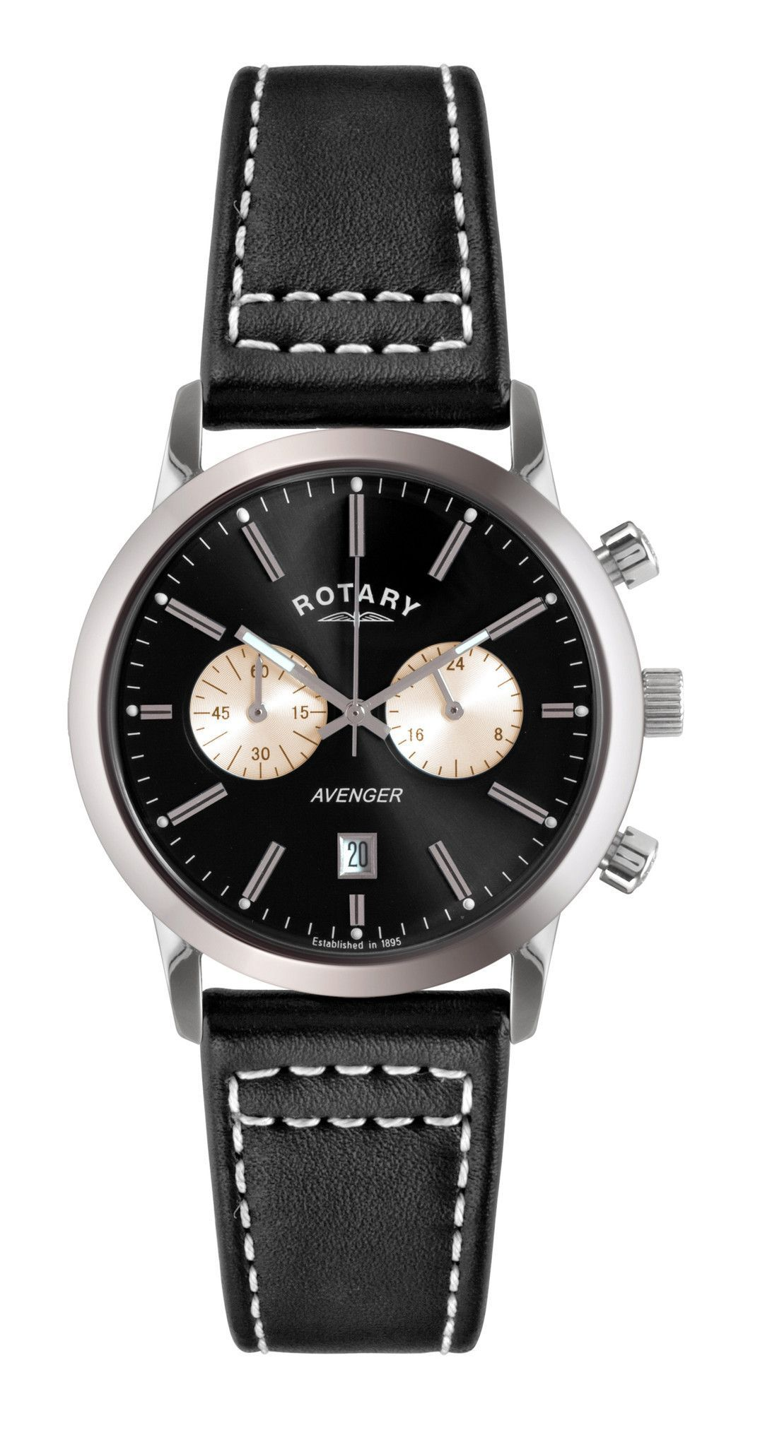 Rotary GS02730 04 Men s Watch Chronograph Black Dial Avenger With Black  Leather Strap 630b0e4a8d4
