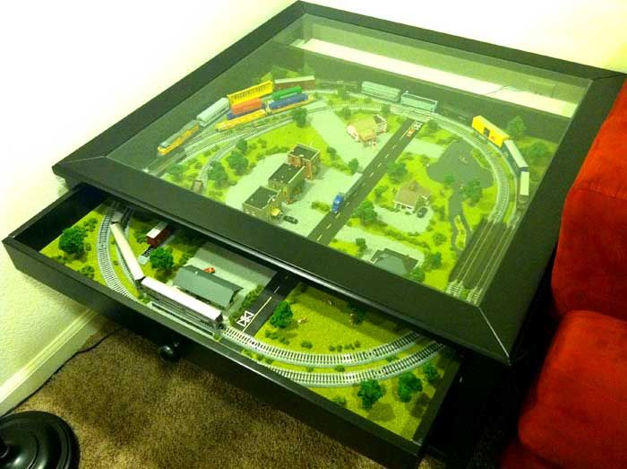 IKEA Liatorp Coffee Table Train Set - an IKEA hack Wish I had though of this istead of the gigantor imaginarium one we bought & IKEA-Coffee-Table-with-train-set | Model train sets | Pinterest ...