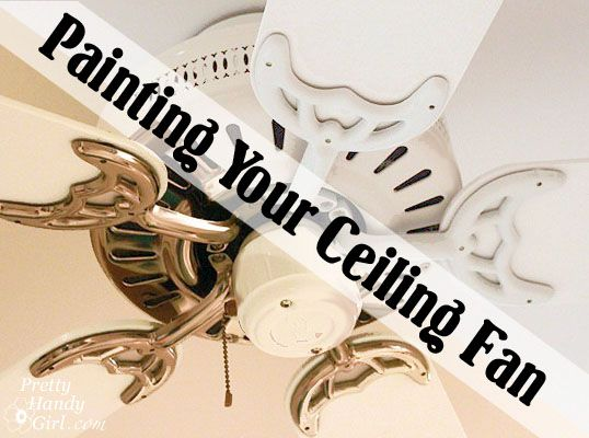 How to paint your ceiling fan (including the brass fixture) tutorial to make it blend in with the ceiling