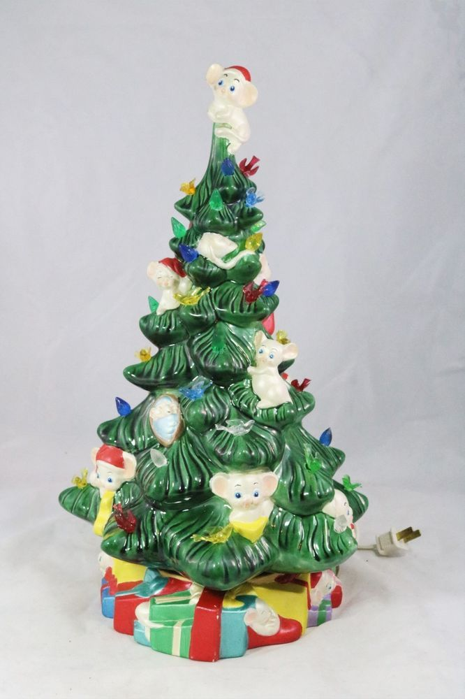 Large Mouse Mice Christmas Tree with Lights RARE  *Ceramic Bisque Ready to Paint