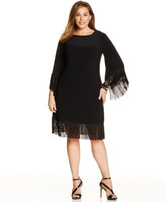 R&M Richards Plus Size Fringe-Trim Shift Dress | macys.com ...