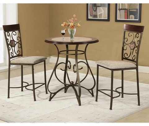 3pc Counter Height Table Set Brown Home Source Industries
