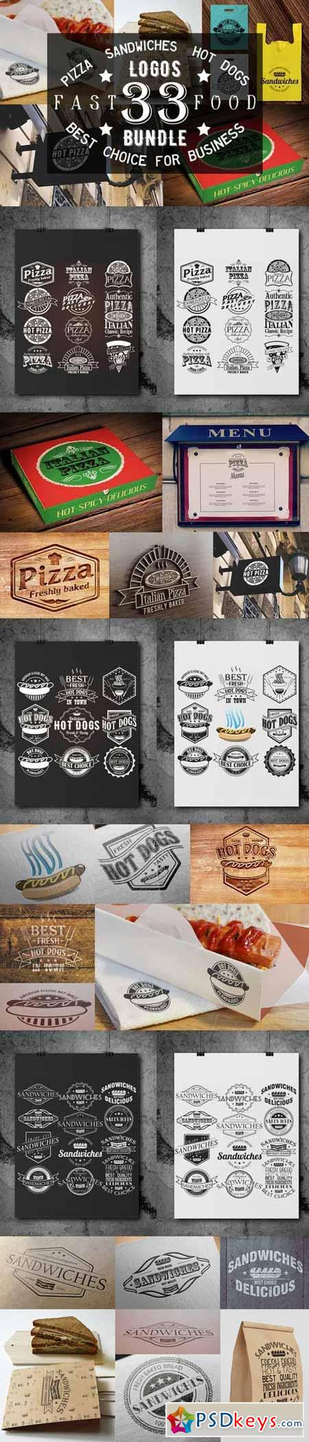 33 Pizza,Sandwiches and Hot Dog logo 369498 | Typography