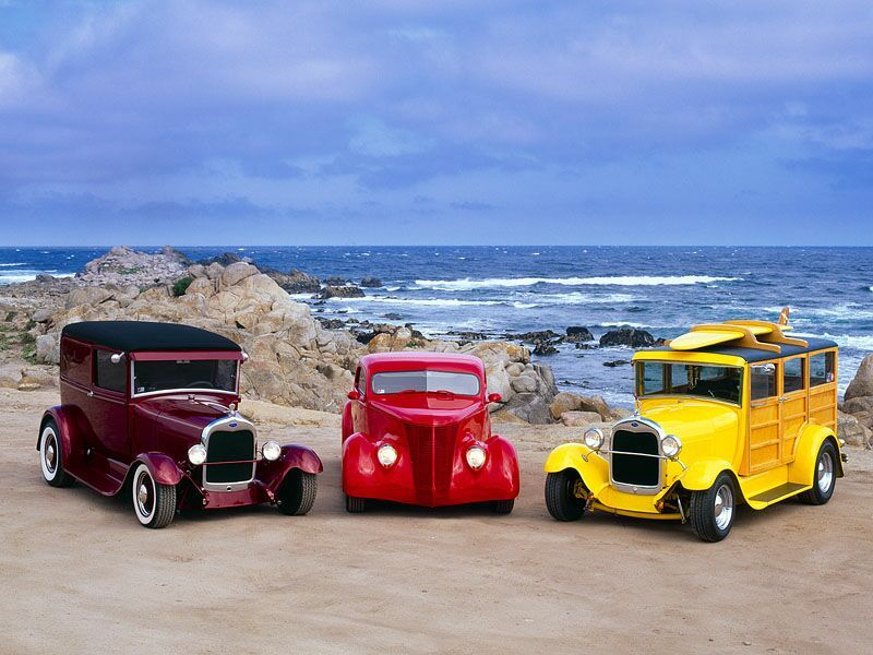 3 Classic Hot Rods - Transport Wallpaper Image featuring Cars