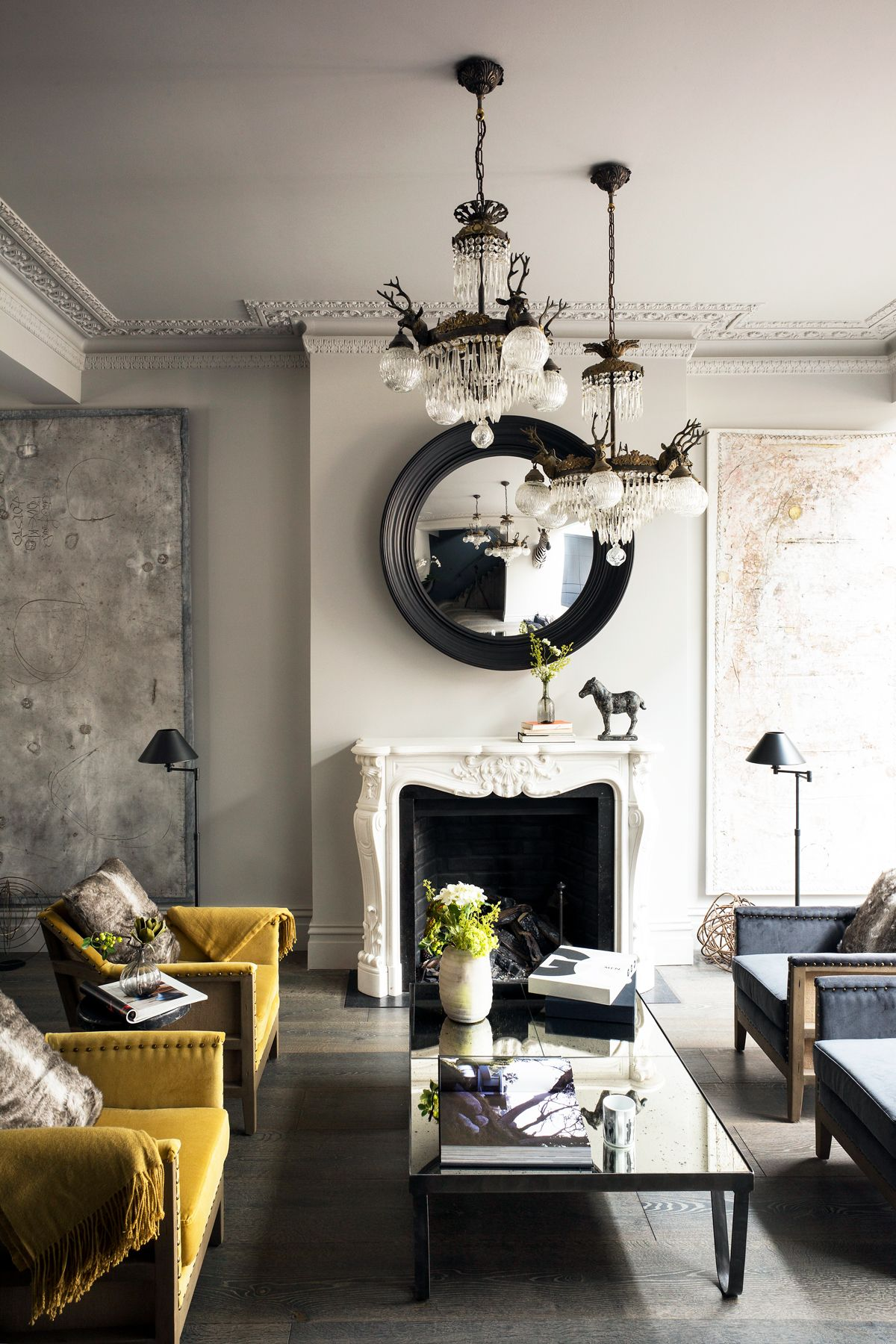 Explore A Tour Of This Industrial Yet Glamorous Townhouse In East London Glamour Living Room Luxury Living Room Design Summer Living Room Decor