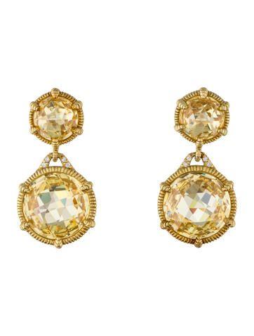 Judith Ripka Canary Crystal Eclipse Drop Earrings