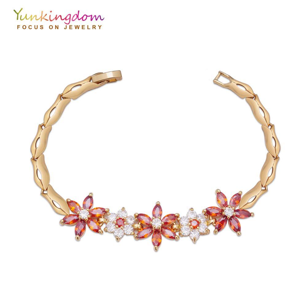Luxury flower bohemia chain link bracelets u bangles women red cubic