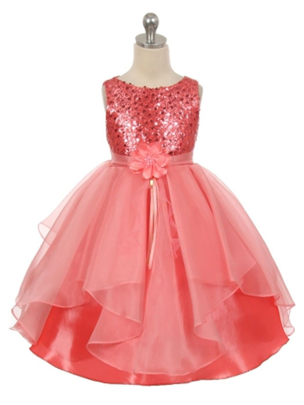 Coral Sequined Bodice Organza Layered Skirt Flower Girl Dress ...