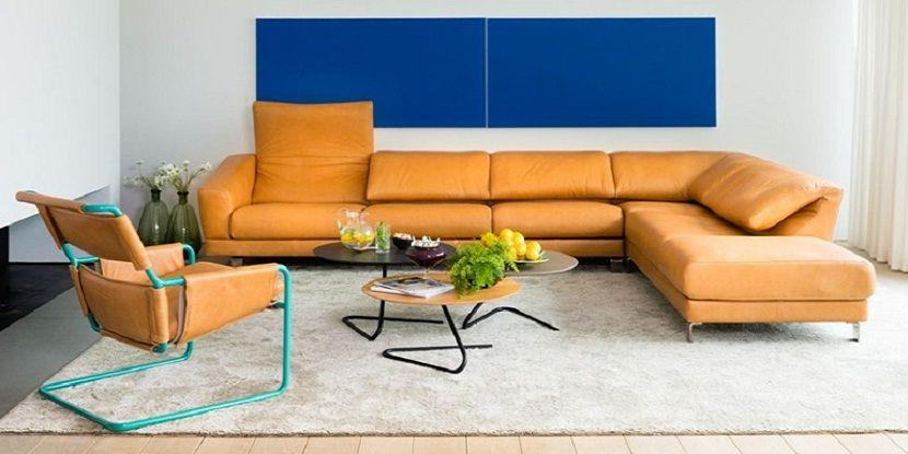Unusual Leather Corner Sofa