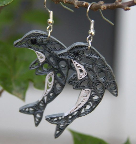 Dolphin Earrings Unique Handmade Paper Quilling Eco