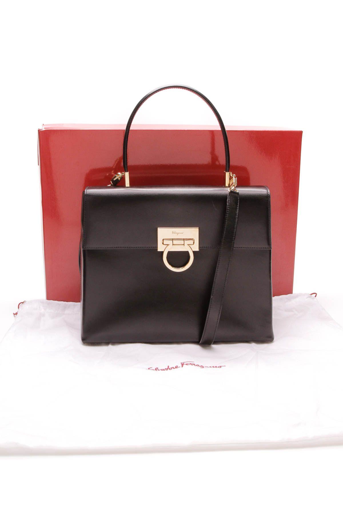 Salvatore Ferragamo Gancini Top Handle Bag - Black 07271bc6c6fa3
