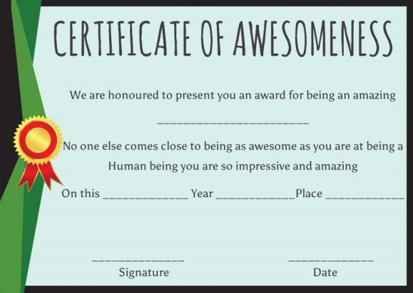Certificate of Awesomeness Template Certificates | Certificate of ...