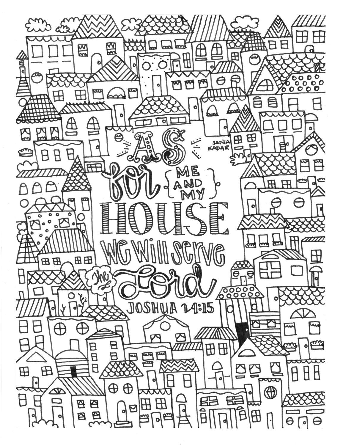 As For Me And My House Coloring Page Pdf By Theprintsofpeacebook