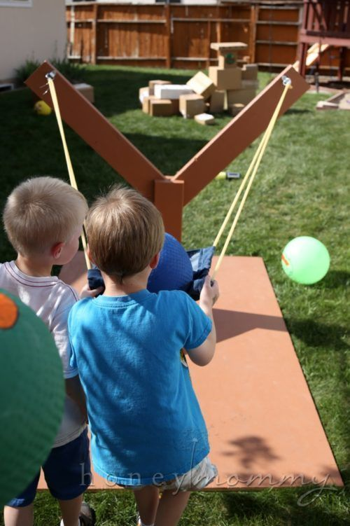 Backyard Angry Bids Homemade Sling Shot. Creative Kids Party Games for your celebration. These ideas transfer well to birthdays, outdoor gatherings, and even in the classroom! Warning: fun involved! kids party Kids Party Games