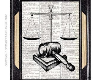 SCALE Of JUSTICE And GAVEL Art Print Law Barrister Lawyer Office Decor  Vintage Dictionary Text Book Page Black White Wall Art