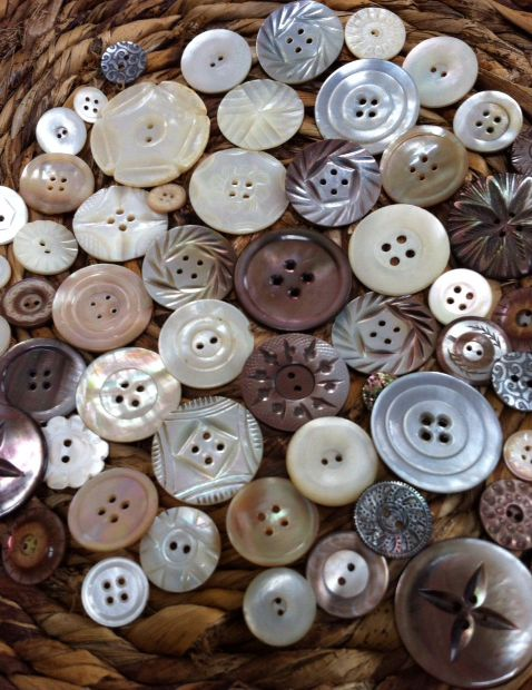 Freckles and Flowers. Vintage carved Mother of Pearl buttons.
