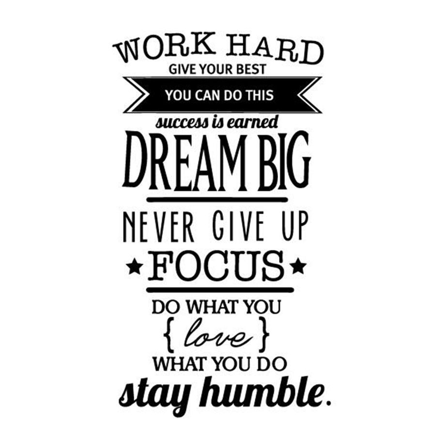 Free Shipping Motivation Wall Decals Office Room Decor Never Give Up Work Hard Dream Big Inspirational Quote Wall Stick Kutipan Inspirasi Inspirasi Stiker