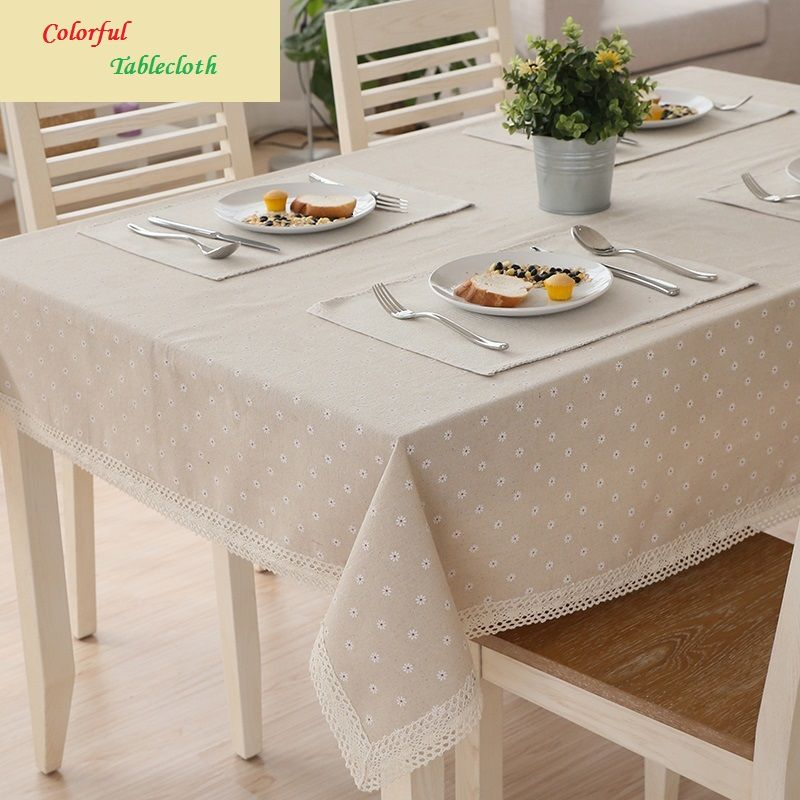 Cotton Fabric Colorful Table Cloth Tablecloth Pastoral Rectangular Small Fresh Tv Cabinet Cover Dining Table Cloth Tablecloth Dining Table Cloth
