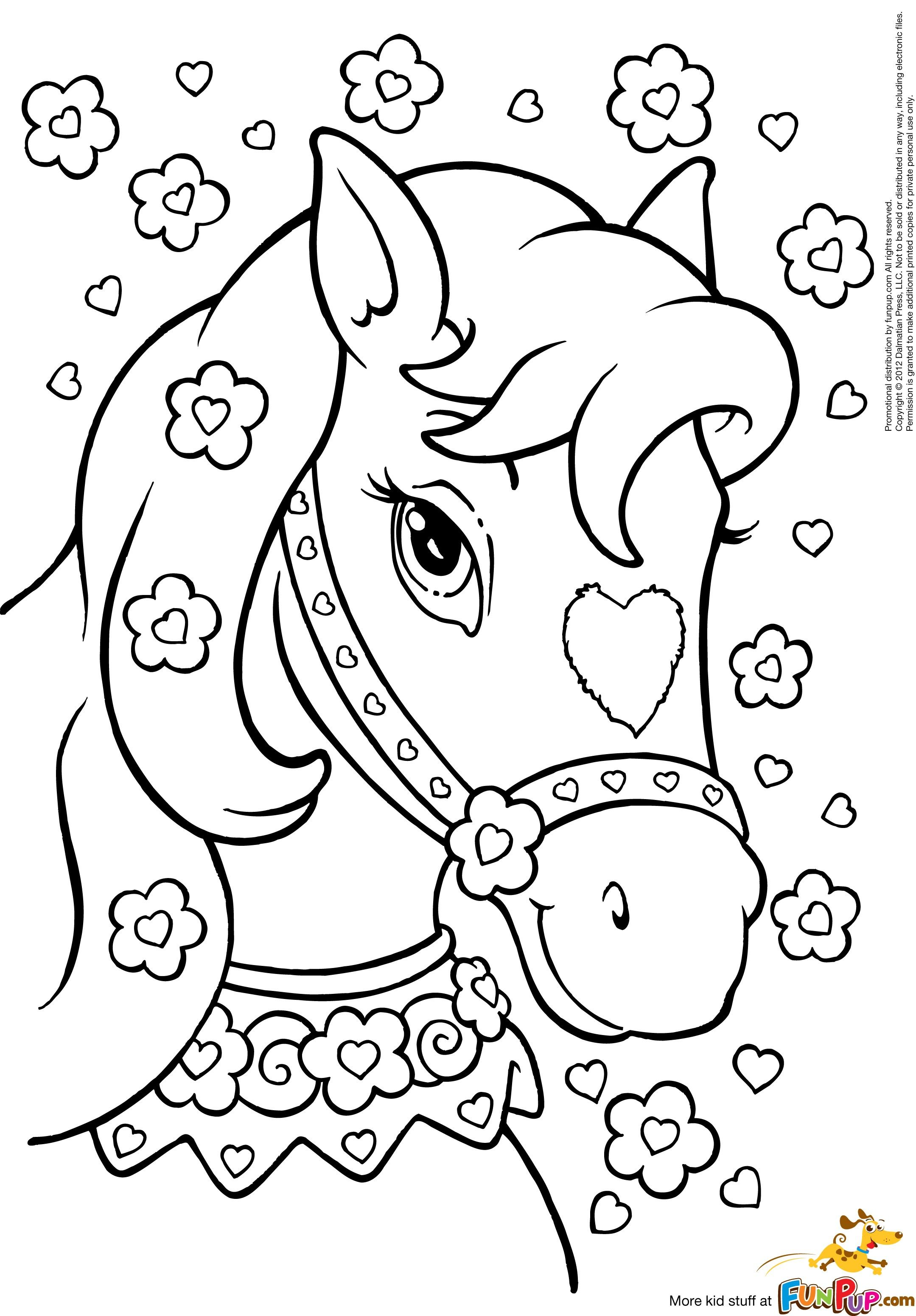 Horse With Hearts Flowers Pinteres Princess Coloring Paper Printable