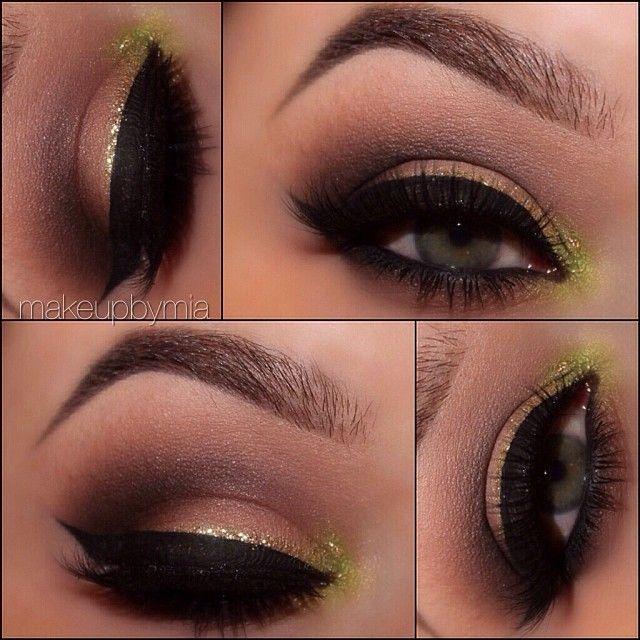 Shadow: Cappuccino with Vanilla applied on top (lid) / Chocolight (crease) / Vanilla (brow highlight) / Green Apple (inner corner) Cappuccino (lower lash line) [all @MotivesCosmetics]  Liner: Jet Black liquid Liner [motives]  Glitter: Pot of Gold & Diamond Glitter Pots [motives]  Brows: Dark Brown [motives]  Lashes: Emily by @flutterlashesinc - @Mia Russo- #webstagram