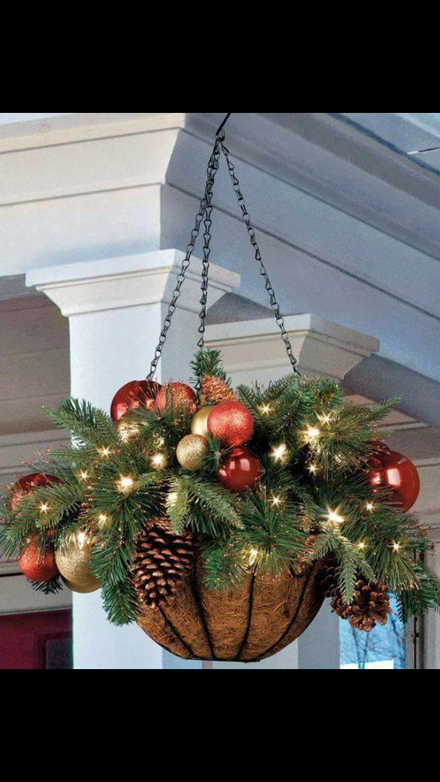 Great Idea For That Shepherd Hook In The Front Yard Christmas Porch Decor Christmas Hanging Baskets Christmas Pots