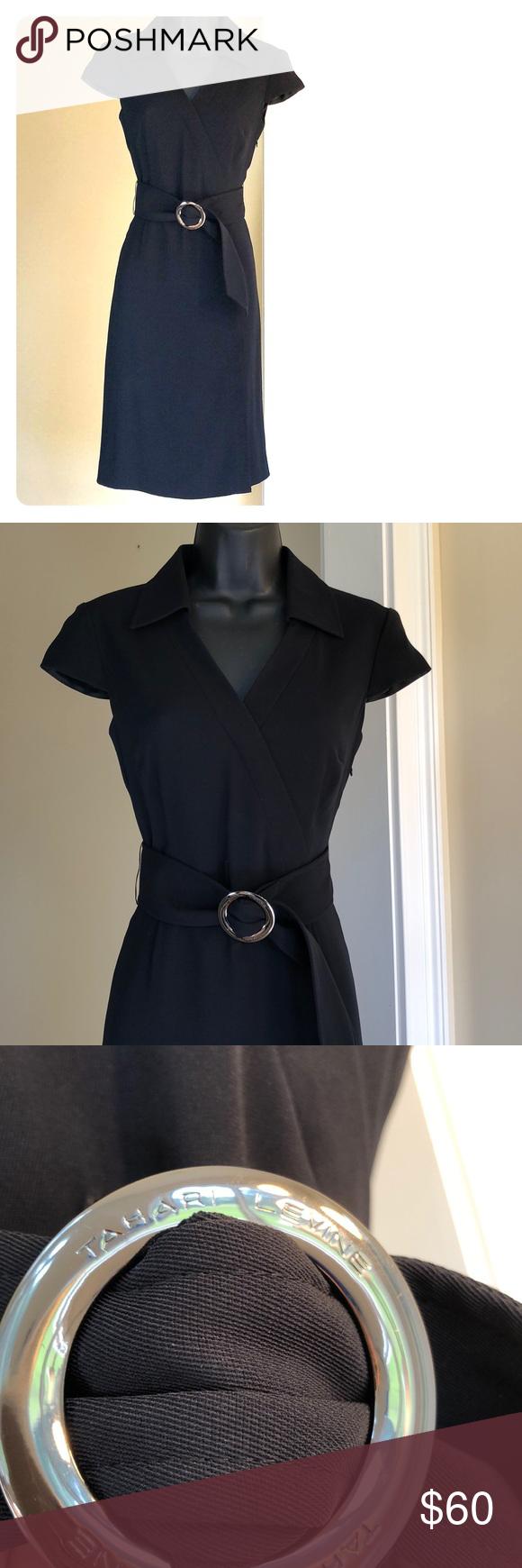 Tahari 2p Black Dress With Belt Flattering Dresses Black Dress Dresses [ 1740 x 580 Pixel ]