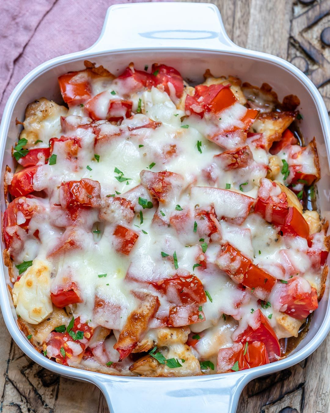 Bruschetta Chicken Casserole for a Delicious Clean Eating Dinner Idea!